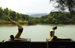 Standbeelden van yogis in verschillende asans Royalty-vrije Stock Afbeelding