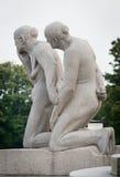 Standbeelden in Vigeland-park Oslo, Noorwegen Royalty-vrije Stock Fotografie