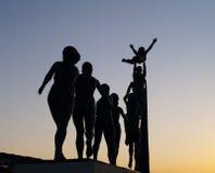 Standbeelden in zonsondergang Stock Foto's