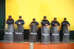 Standby Policeman. Policeman get standby in the central plaza of Lima, Peru Stock Image