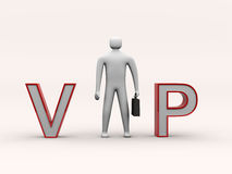 Standing 3d man and vip text Stock Images