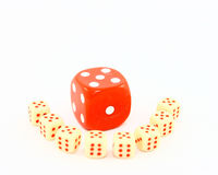 Standing Above The Rest - Dice. Eight small white dice with red pips, or dots, surround one larger red dice with white pips. Looks like a teacher talking to a Royalty Free Stock Photography