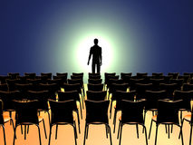 Standing alone. Man standing in the front of empty audience, 3d rendering model Royalty Free Stock Image