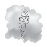 Standing alone astronaut cartoon drawing stock illustration