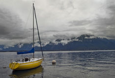 Standing alone yacht, lake Geneva, Montreux, Switz Stock Images
