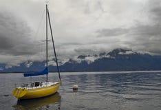 Standing alone yacht, lake Geneva, Montreux, Switz Stock Images