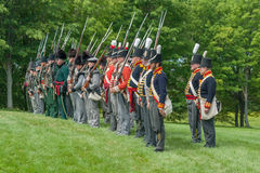 Standing at Attention during War of 1812 Reenactment Stock Images