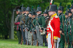 Standing at Attention during War Reenactment Royalty Free Stock Photography