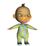 Standing Baby with pacifier. 3d rendering of a baby with pacifier as an illustration Stock Photo