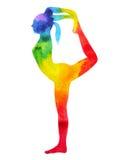 Standing back bending 1 leg yoga pose 7 color chakra watercolor painting. Hand drawn illustration design royalty free illustration