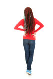 Standing back teenage girl with african braid Royalty Free Stock Photography