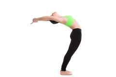 Standing Backward Bend (Ardha Chakrasana). Sporty girl on white background doing exercises for flexible spine, Standing Backward Bend yoga posture, Ardha Royalty Free Stock Photography