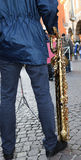 Standing band player and sax Stock Photos