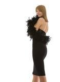 Standing beautiful girl in boa Royalty Free Stock Image