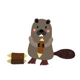 A standing Beaver holding a log cartoon character. Isolated on white background. Vector illustration vector illustration