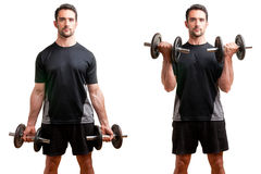 Standing Bicep Dumbbell Curl. Personal Trainer doing standing dumbbell curls for training his biceps, isolated in white Royalty Free Stock Photos