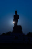 Standing big Buddha statue Silhouette Royalty Free Stock Photography