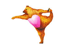Standing Bow Pulling Pose Yoga : Dandayamana Dhanurasana, watercolor painting Stock Images