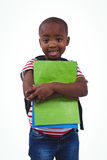 Standing boy with backpack holding notebooks Stock Images