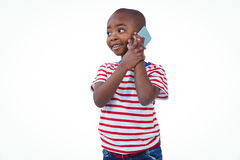 Standing boy on a phone call Royalty Free Stock Photography