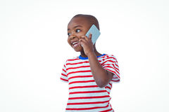 Standing boy on a phone call Stock Photography