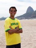 Standing brazilian sports fan at Rio de Janeiro Royalty Free Stock Images
