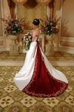 Standing Bride. A elegant bride standing for her wedding day celebration royalty free stock image