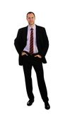Standing business man in suit isolated on white. Background Royalty Free Stock Image