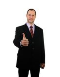 Standing business man in suit isolated on white Stock Image