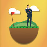Standing businessman reach to successful achievement. Business concept illustration. Stock Photography