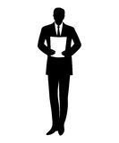 Standing businessman reads document. Black outline royalty free illustration