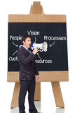 Standing businessman shouting through a megaphone Royalty Free Stock Image