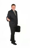Standing Businessman - Welcome. Standing man isolated on white background Royalty Free Stock Photography
