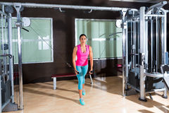 Standing Cable Crossover Fly flies woman workout. Standing cable crossover fly pulley flies woman workout at gym stock image
