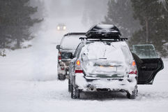 Standing cars in winter Stock Photos