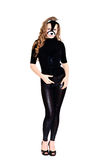 Standing cat-woman. Cat-woman with long curly hair standing over the white Stock Photo