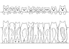 Standing cats front and back border set. Monochrome, line art Royalty Free Stock Photo