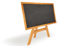 Standing Chalkboard. Blank chalkboard with wooden frame isolated over a white background. This is a 3D rendered picture royalty free stock images