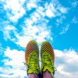 Standing on the cloud - Think outside the box. Standing cloud think outside box royalty free stock images