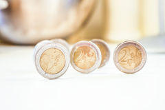 Standing coins Stock Photo