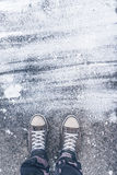 Standing on concrete floor with white drybrush stains Stock Photos