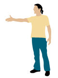 Standing cool man shaking hand position Royalty Free Stock Image