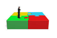Standing on 3d puzzles Stock Photos