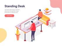 Standing Desk Illustration Concept. Isometric design concept of web page design for website and mobile website.Vector illustration. EPS 10 stock illustration