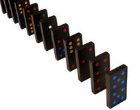 Standing dominoes. Row of dominoes standing royalty free stock photography