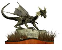 Standing Dragon. Digital render of a dragon standing on a rock surrounded by long grass. Isolated on a wooden plinth vector illustration