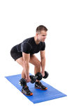Standing Dumbbell Calf Raise or Squats workout Stock Images