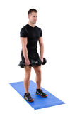 Standing Dumbbell Calf Raise or Squats workout Stock Photos