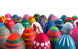 Standing Easter eggs. Colorful standing Easter eggs  white background 3d illustration Royalty Free Stock Photo
