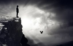 Standing at the edge, challenge stock illustration